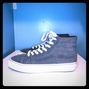 Vans Sk8-Hi gray silver metallic suede shoes 5.5